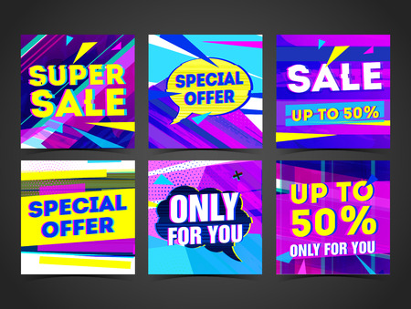 Set Cyber design template banner, card, postcard for super sale. Bright colorful geometric abstract poster for advertising. Symbol with glitch decoration for best offer. Sale label for ads. Vector. Illustration