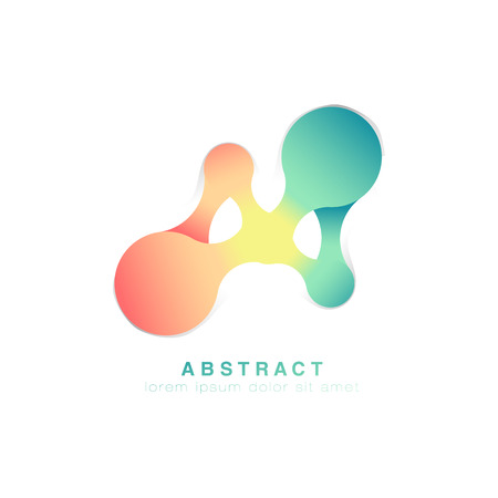 Three points are connected. Abstract logo.Green and pink logo infinite. Vector