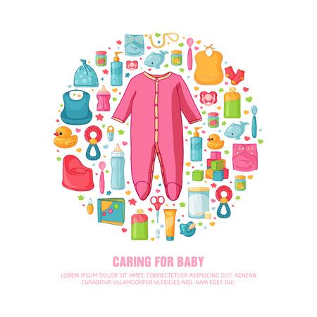 Runde Banner mit dem Muster der Kindheit. Neugeborenes Personal für die Dekoration. Kreis Entwurfsvorlagen für Karte, Einladung mit Kleidung, Spielwaren, Zubehör für Mädchenbabydusche. Vektor