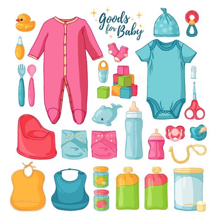 Gran conjunto cosas de bebé. Lindo conjunto de cosas para la infancia. Iconos aislados de artículos para bebés para recién nacidos. Ropa, juguetes, accesorios para la higiene, alimentos para bebés. Vector