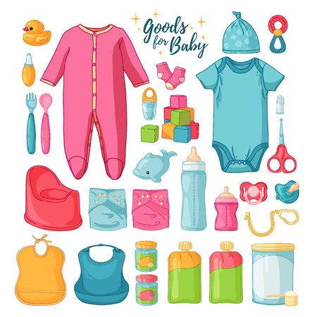 Big set baby stuff. Cute set of things for childrenhood. Isolated icons of baby goods for newborns. Clothing, toys, accessories for hygiene, food for Infant. Vector