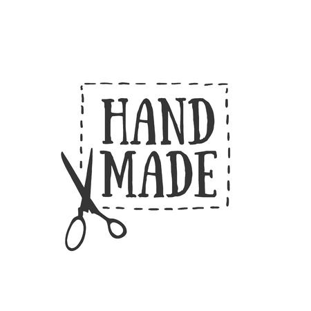 손으로 만든 배지, 레이블 및 로고 요소, 지역 재봉 상점, 니트 클럽, 수제 예술가 또는 니트웨어 회사의 복고풍 상징. 템플릿 로고. 벡터