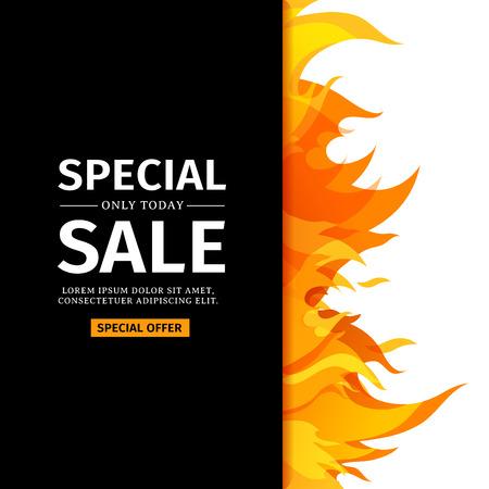 템플릿 디자인 수직 배너 특별 판매입니다. 프레임 화재 그래픽과 함께 뜨거운 제공에 대 한 카드입니다. 검은 색 바탕에 불꽃 테두리 초대장 레이아웃입니다. 벡터. 스톡 콘텐츠 - 82118205