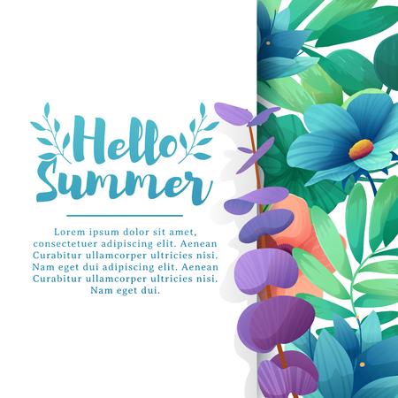 Template Design Banner mit Hallo Sommer-Logo. Karte für Sommerzeit mit weißen Rahmen auf Blumen Hintergrund. Einladungslayout mit Anlagen, Blättern und Blumendekoration.