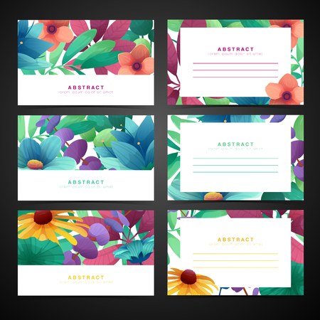 Template design horizontal card set with floral decoration.  Frame with the decor of flowers, leaves. Invitation, postcard, banner with place for text on a white background summer bouquet. Vector.