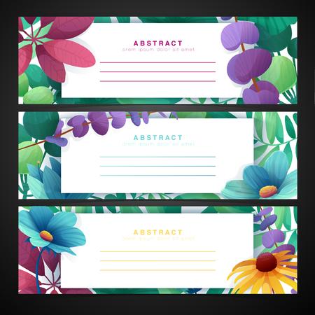 Horizontale Fahne des Schablonenentwurfs stellte mit Blumendekoration ein. Rahmen mit dem Dekor von Blumen, Blättern, Zweigen. Einladung mit Platz für Text auf einem Hintergrundsommerblumenstrauß. Vektor.