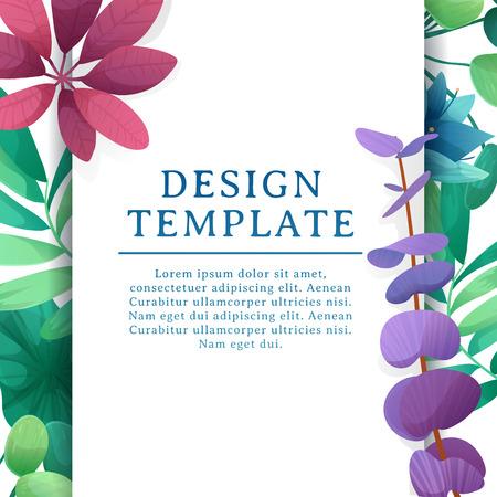 Banner Design Vorlage mit Blumenschmuck. Der quadratische Rahmen mit dem Dekor der Blumen, Blätter, Zweige. Einladung mit Platz für Text auf einem Hintergrund Sommer Bouquet. Vektor