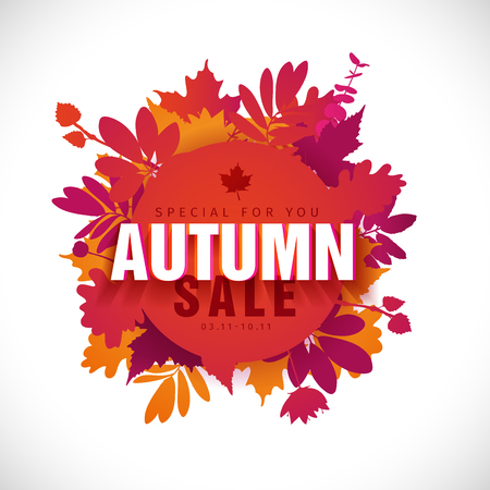 Template design circle autumn sale banner with decor silhouette of plants. Sign of promotion and discounts offer of the nature of the fall season with leaves of maple. Vector Illustration