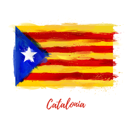 Symbol, poster, banner Catalonia. Flag of Catalonia with the decoration of the national flag. Style watercolor drawing. Vector Vettoriali