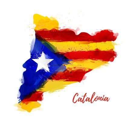 Símbolo, cartel, banner Cataluña. Mapa de Cataluña con la decoración de la bandera nacional. Dibujo de acuarela de estilo. Vector Foto de archivo - 89489804