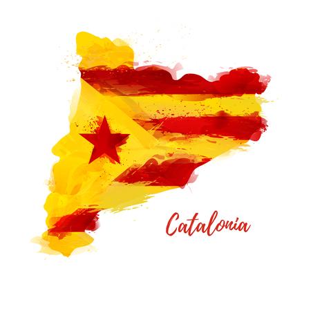 Símbolo, cartel, banner Cataluña. Mapa de Cataluña con la decoración de la bandera nacional. Dibujo de acuarela de estilo. Vector
