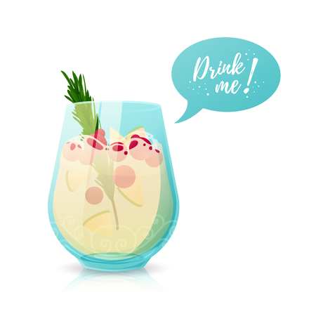 a cocktail with Drink me bubble speech. Illustration with a glass of alcoholic sangria. Vector.