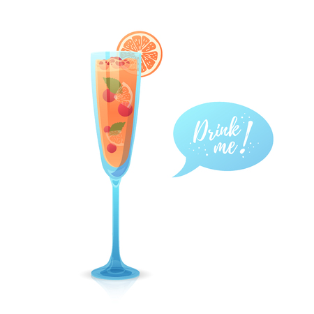 Christmas cocktail with Drink me bubble speech. Illustration with a glass of new year alcoholic drink or champagne with berries and fruits. Vector.