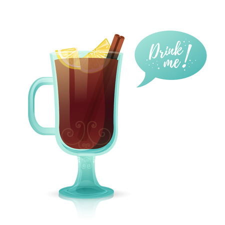Design a banner with a hot beverage Drink me. Illustration with a glass of hot mulled spiced wine.