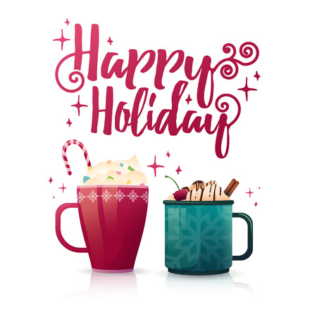 Design seasonal banner Happy Holiday. Poster template with a couple of hot beverage mugs. Christmas drinks with coffee, cocoa or chocolate. New Year banner for promotion and special xmas sale. Vector
