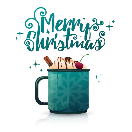 Design seasonal banner Merry Christmas. Poster template with mug hot beverage. Christmas drink with coffee, cocoa or chocolate. New Year layout flyer for holiday sale and New Years bar menu. Vector.