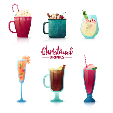 Set of design of Christmas drinks in cartoon style. Mulled wine, hot chocolate, milkshake for the New Year holiday. Design of cocktails for menu decoration. Vector