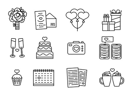 Set line design icon for Valentine's day. Romantic symbol with cake, heart, flower and couple mug. Vector icon with element love. Badge for promotion Valentine holiday.