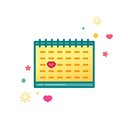 Design icon with cute calendar. Note with heart symbol for banner or promotion.  Symbol with anniversary or valentines day date. Vector Illustration