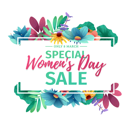 Horizontal banner for sale International Happy Womens Day on flower background. Invitations with frame and flower for offer and discount.