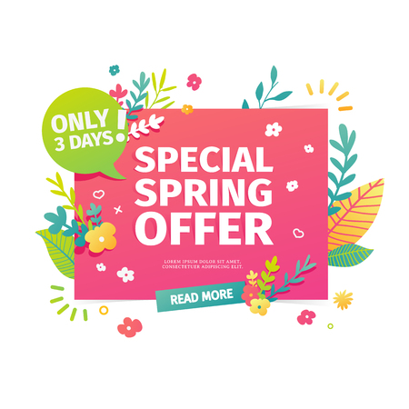 Template design horizontal web banner for spring offer. Advertising poster with a decor of flowers and leaves frame. Badge for the spring sale in a flat style.  Vector. Illustration
