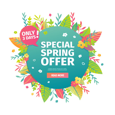 Template design circle web banner for spring offer. Advertising poster with a decor of flowers and leaves frame. Badge for the spring sale in a flat style.  Vector.