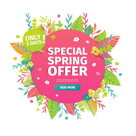 Template design circle web banner for spring offer. Advertising poster with a decor of flowers and leaves frame.