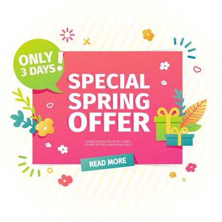 Template design horizontal web banner for spring offer.