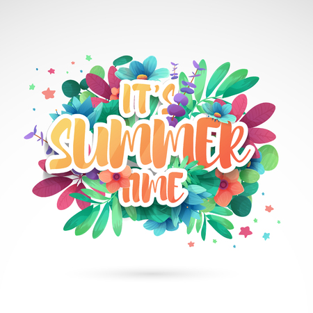 Template design banner for summer offer. Special sale advertising with floral frame and flower summer logotype. Pink background. Vector Illustration