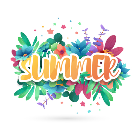 Design symbol for summep. Banner with flower logo and leaf for summer promotion and sale. Nature floral decoration layout template. Vector