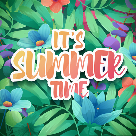 Template design square banner for summer offer. Special season poster advertising with floral frame. Its summer time logo on flower and leaf background. Vector