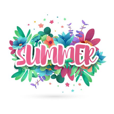 Design-Symbol für den Sommer. Banner mit Blume und Blatt für Sommerförderung. Naturblumendekoration Layoutschablone. Vektor