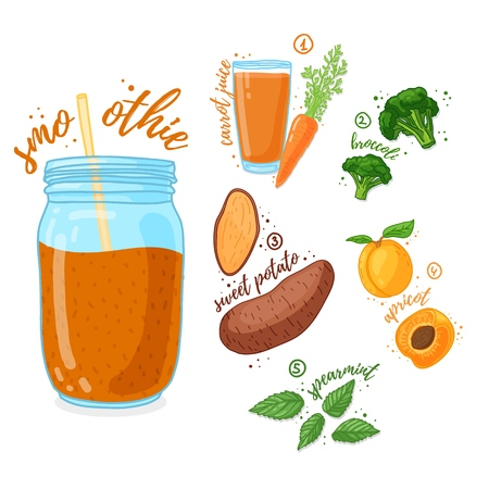 Orange cocktail for healthy life. Smoothies with sweet potato, apricot, broccoli and carrot juice. Recipe vegetarian organic smoothie in jar. Template recipe card with detox drink for diet. Vector