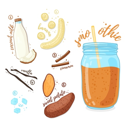 Orange cocktail for healthy life. Smoothies with sweet potato, vanilla, cinnamon spice and banana. Recipe vegetarian organic smoothie in jar. Template recipe card with detox drink for diet. Vector