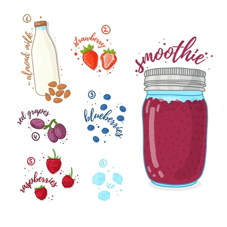 Berry cocktail for healthy life. Smoothies with blueberry, almond milk, raspberry and grape. Recipe vegetarian organic smoothie in jar. Template recipe card with detox drink for diet. Vector