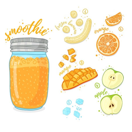 Orange cocktail for healthy life. Smoothies with mango, banana, prange and apple. Recipe vegetarian fruit organic smoothie in jar. Template recipe card with detox drink for diet. Vector