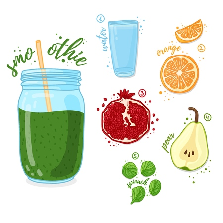 Green cocktail for healthy life. Smoothies with pear, pomegranate, orange and spinach. Recipe vegetarian organic smoothie in a glass jar. Template recipe card with detox drink for diet. Vector.