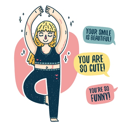 Design of a body positive poster with a young blonde girl. Happy plus size woman with scars is engaged in yoga. Motivational feminist poster. Print with a cartoon character with marks. Vector