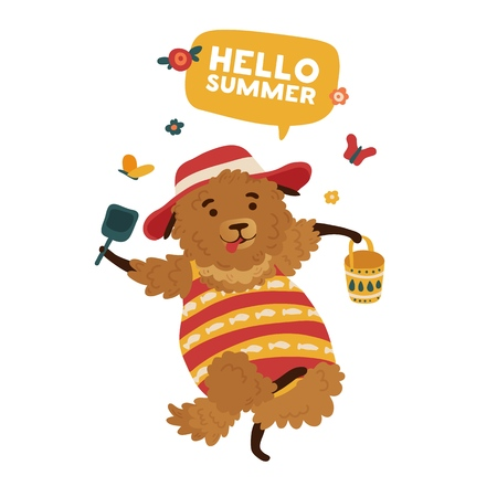 Print the lovely cartoon dog in a swimsuit for the summer season. The poster design is Hello summer with a cheerful danced doggy. Template for a cute summer card with a fluffy puppy. Vector Stock Illustratie