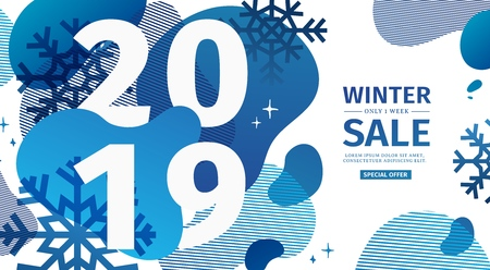 Abstract geometric design for the happy new year 2019. New Year banner with vector blue liquid form with the decor of snowflakes  and sparkles. Blue, creative template sale with fluid dynamic shape
