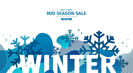 Abstract geometric design for winter. Christmas offer banner with vector liquid form and decor of snowflakes and sparkles. Blue creative template mid season sale graphic with fluid dynamic shape. Illustration