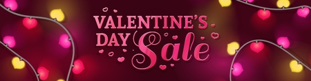 Template horizontal design banner for Valentines day offer. Heart shape background with decor neon garland and elements for Happy Valentines day sale. Romantic promotion card and flyer. Vector.