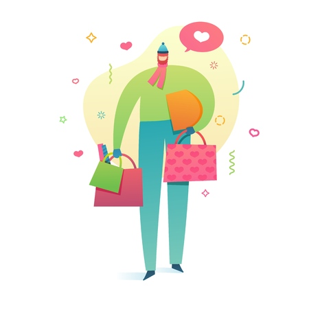 Template design banner for valentines day with cute  romantic character. Poster of love with modern flat people and pattern heart shape. Man with shopping bag for valentine offer. . Vector Stock Vector - 118982555