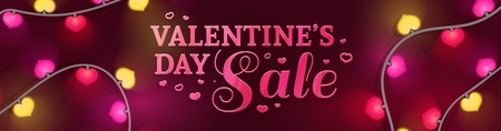 Template horizontal design banner for Valentines day offer. Heart shape background with decor neon garland and elements for Happy Valentines day sale. Romantic promotion card and flyer. Vector 일러스트
