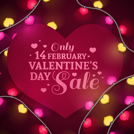 Template design banner heart shape for Valentines day offer. Red background with decor neon garland and elements for Happy Valentines day sale. Romantic promotion card and flyer. Vector.