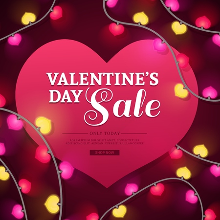 Template design banner for Valentines day offer. Heart shape background with decor neon garland and elements for Happy Valentines day sale. Romantic promotion card and flyer. Vector.