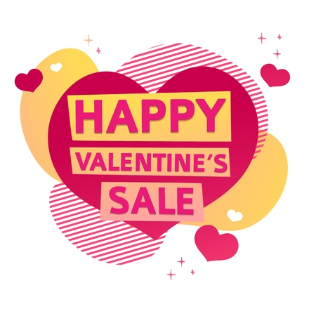 Template design banner for Valentines day offer. Geometric abstract shape background with decor heart and elements for Happy Valentines day sale. Romantic promotion card and flyer. Vector