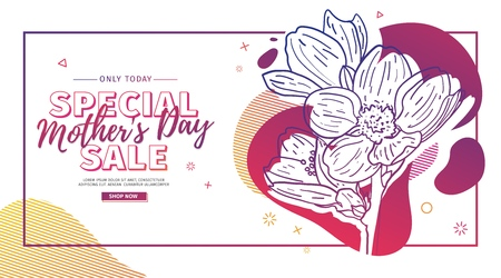 Modern Template design for Mom day banner. Promotion layout for mothers day offer with flower decoration. Line illustration  floral blossom with abstract geometric shape for sale. Vector.