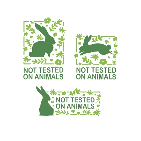 Set animal logo cruelty free. Sign with silhouette rabbit and flower and nature leaf. Design stapm for product not tested on animals. Layout Badge for natural cosmetic. Vector symbol.