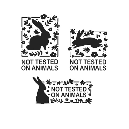 Set animal logo cruelty free. Sign with silhouette rabbit and flower and nature leaf. Design stapm for product not tested on animals. Layout Badge for natural cosmetic.  Vector symbol. 일러스트
